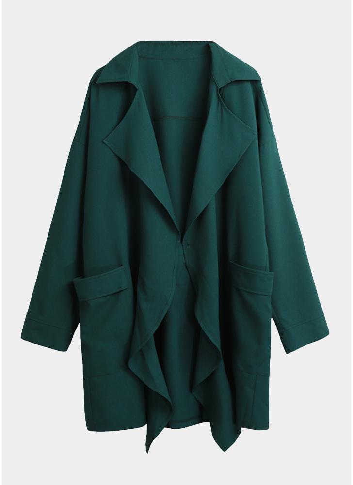 3d407f7935 Casaco de trincheira sólida de lapela de moda feminina