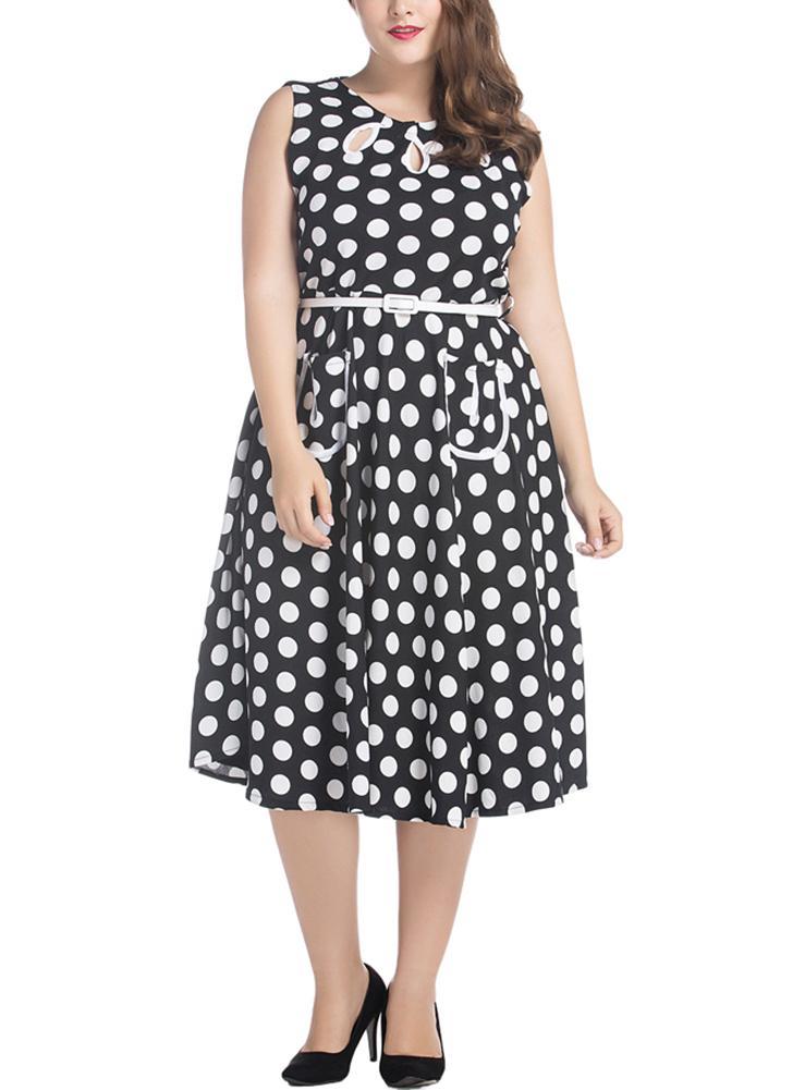 Vestido retro para mulheres com tamanho de polca A-Line