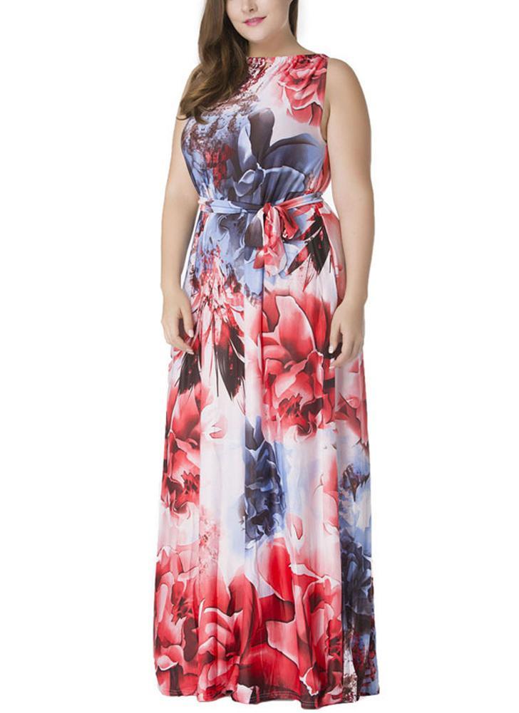 Fashion Plus Size Boho Floral Print Maxi Dress