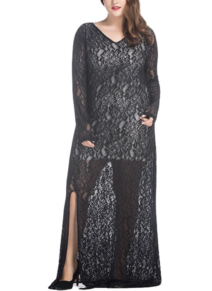 Women Plus Size V-Neck  Lace Maxi Dress