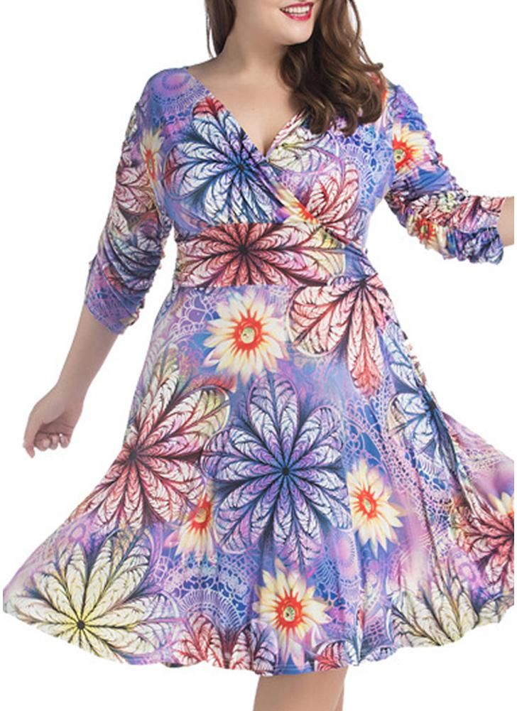 Verano Sexy V cuello floral de impresión vestido de Midi Ruched mujeres más vestido de talla
