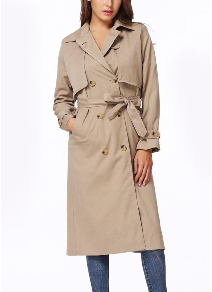 Женщины зимой выстроились с откидной ошейником Двубортная кнопка Закрытие ветрового пальто