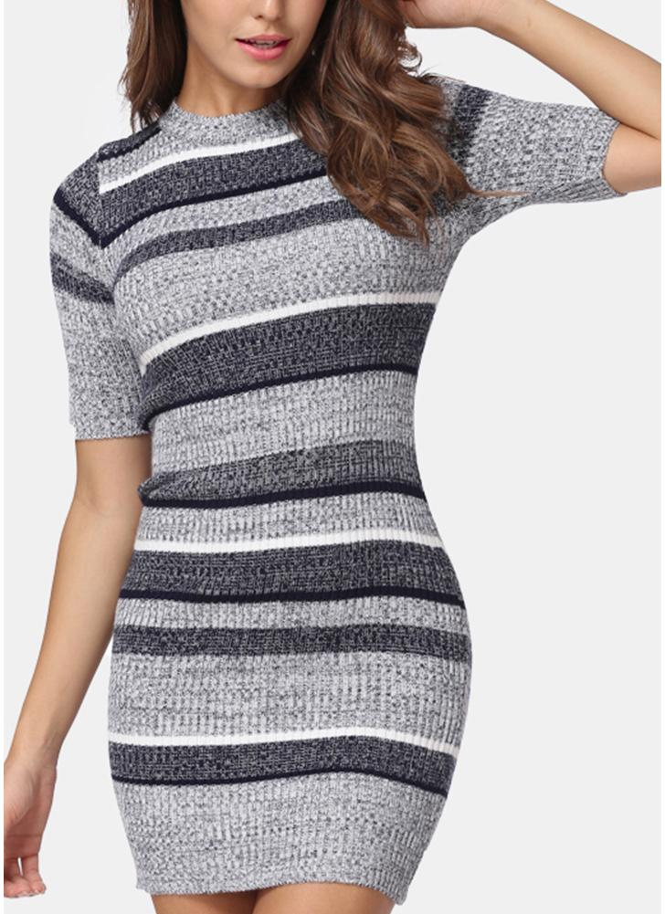 Knitted Striped Bodycon Half Sleeves  Women's Sweater Dress
