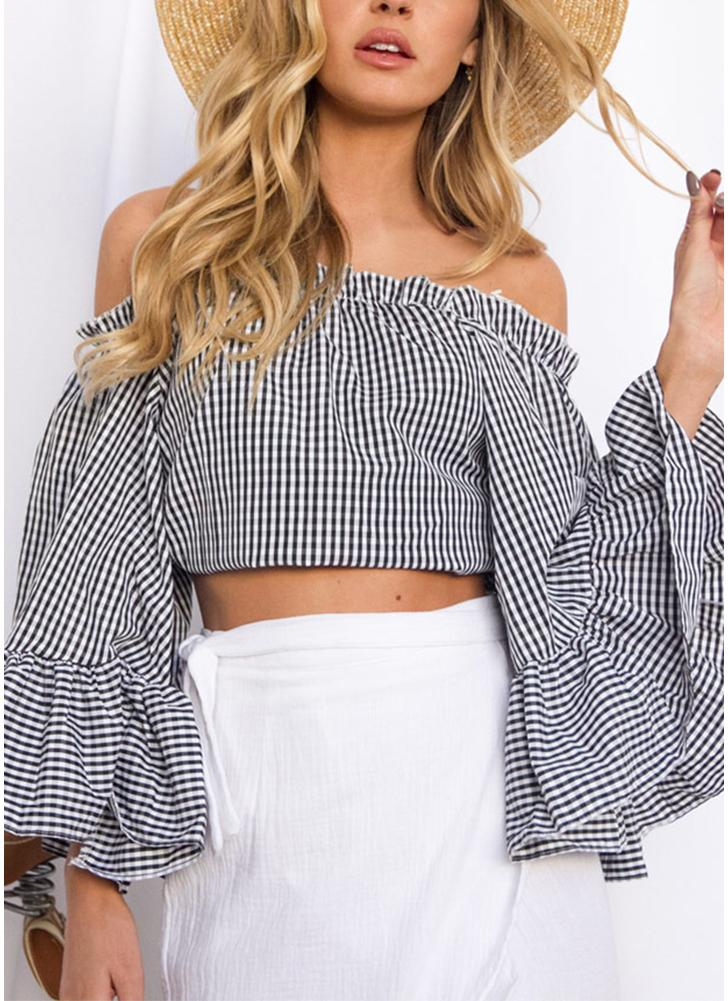 Plaid Checks Off Shoulder Flare Sleeve Elastic Slash Neck Ruffle Casual Tops