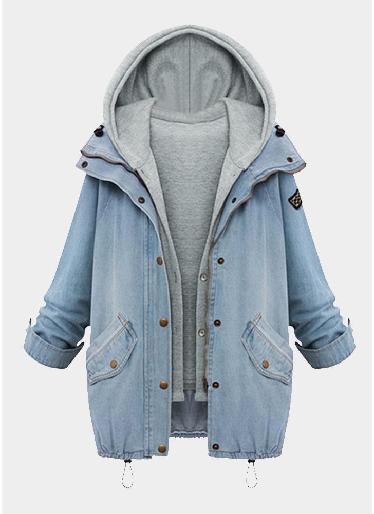 Mode Frauen Denim Übergroße Zweiteiler Hellblau