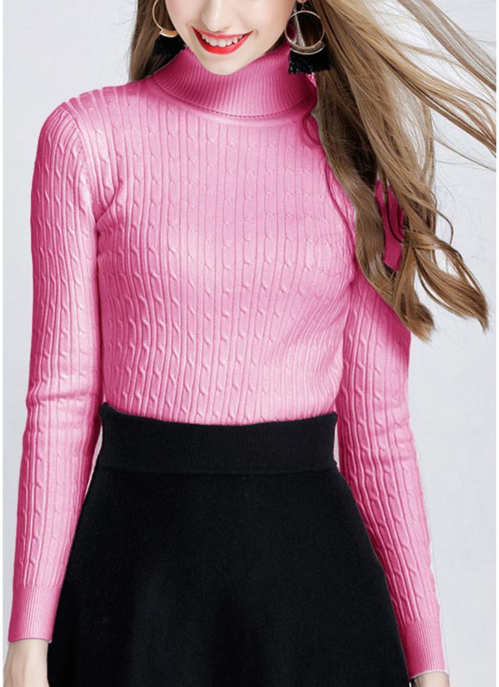 Pull en maille torsadée solide Fashion Fashion