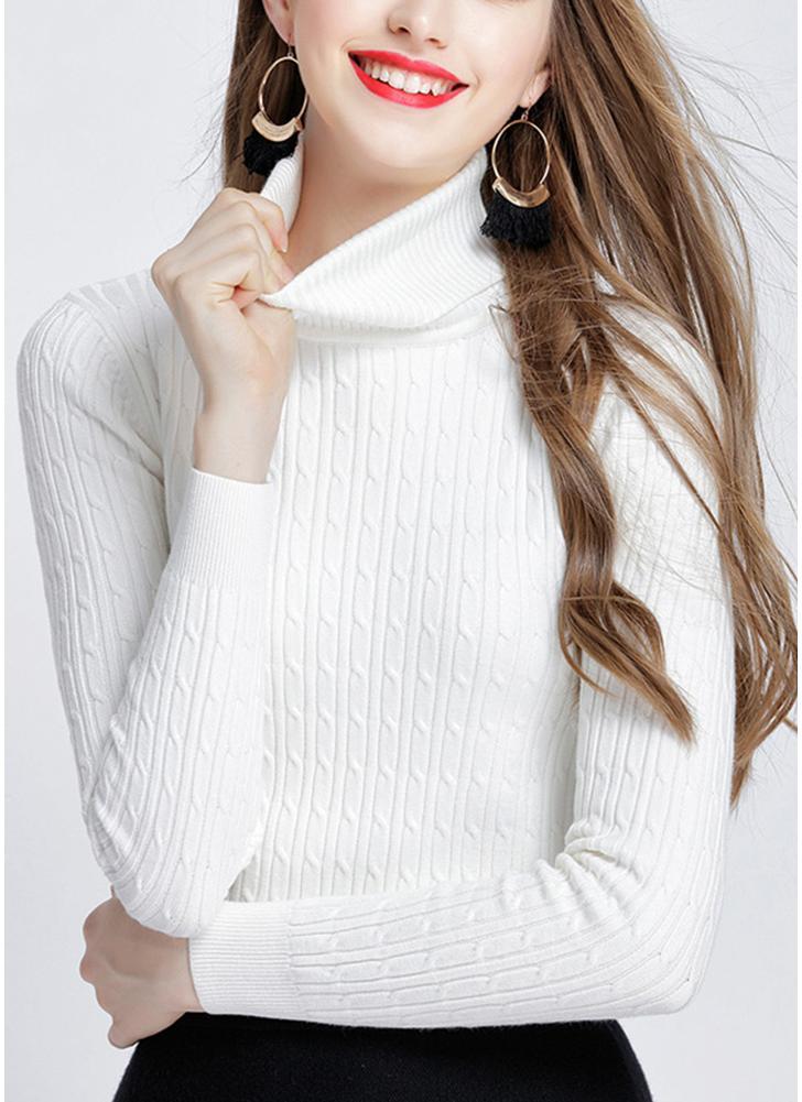 Mode Frauen Solid Twist Strickpullover