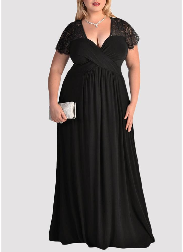Plus Size Solid Lace Splice Ruched V-Neck Party Maxi Dress