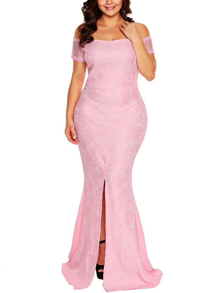 2xl rosado Vestido de encaje con hombros descubiertos y espalda ...