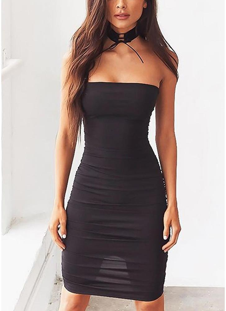 Sexy Off Shoulder Sleeveless Slash Neck Strapless Party Mini ... 9e3bd5d7c00f