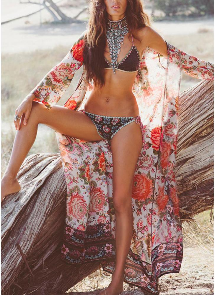 Mujeres Long Kimono Beach Cover Up prendas de vestir exteriores