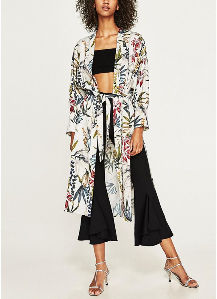 Camisa kimono faja estampado floral para mujer Blusa rebeca retro para vendaje