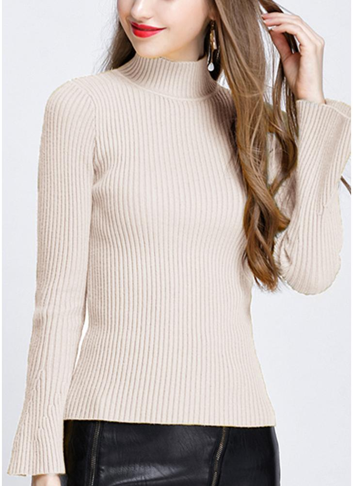 Moda invierno mujeres Ribbed Flare Sleeves Stand Collar Mujer suéter