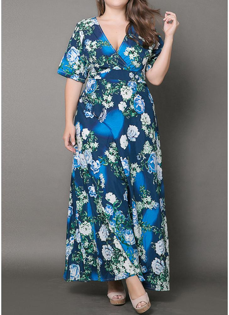 blau 4xl Plus Size Frauen Maxi Langes Kleid Blumendruck Elegante A ...