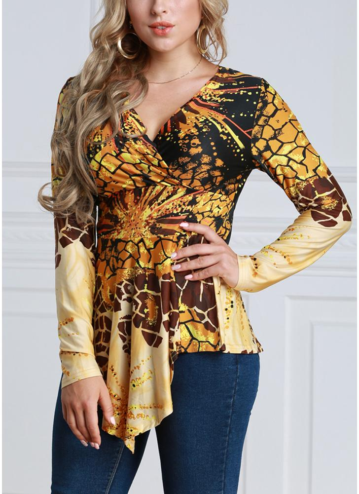 Women Contrast Print V-Neck Asymmetric Hem Blouse Top