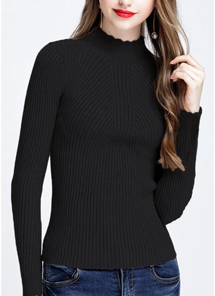 Fashion Women Turtleneck Long Sleeve Ruffled Knitting Sweater