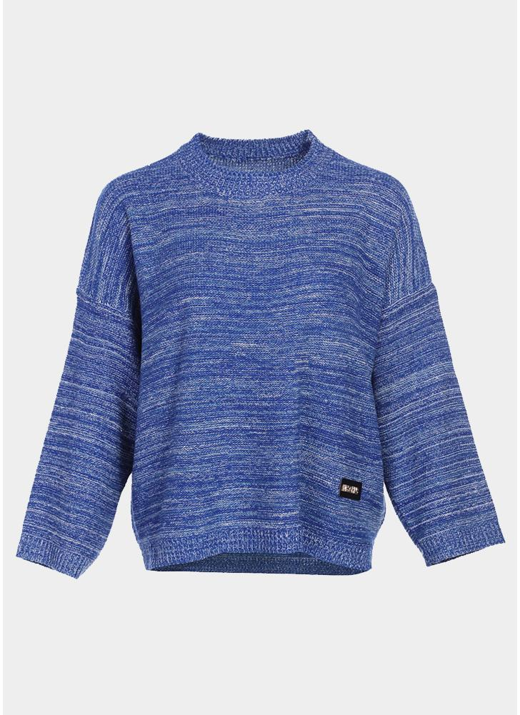 Pull Over Onto Shoulder : Blue women loose knitted pull over striped dropped