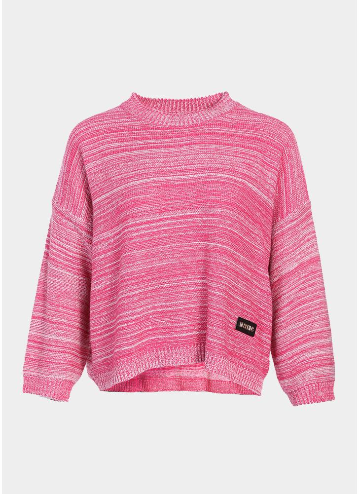 Pull Over Onto Shoulder : Pink women loose knitted pull over striped dropped