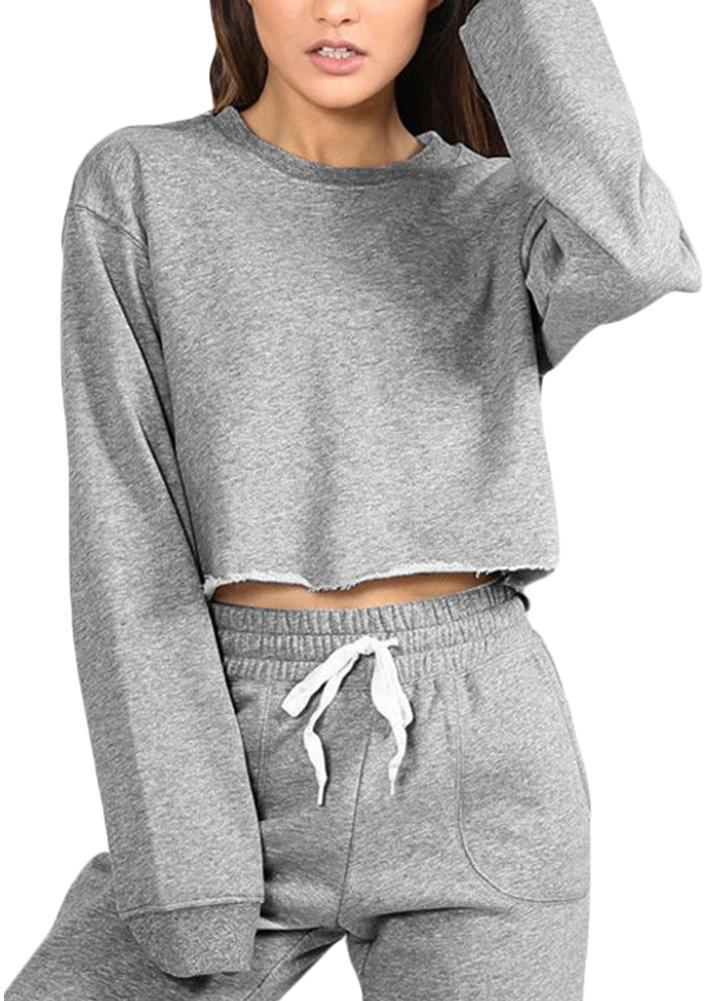 Women Sport Yoga Crop Top Blouse O-Neck Long Sleeves Casual Sportswear