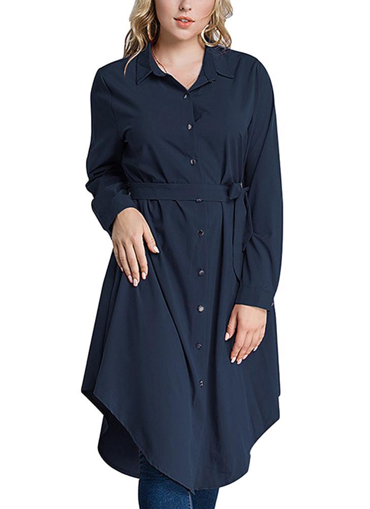 Mulheres manga comprida Irregular Hem Belted Solid Tunic Plus Size Shirt