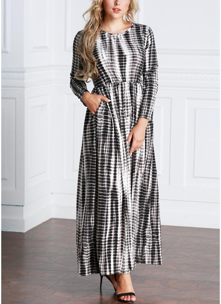 Casual Women  Ankle-Length Stripe Printed Plus Size Long Maxi Dress