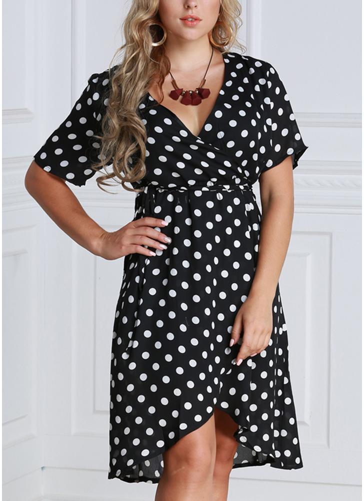 Vestido de Chiffon em Polka Dot com tamanho feminino com vestido profundo com pescoço com pescoço curto Cross Overlap Vintage Dress
