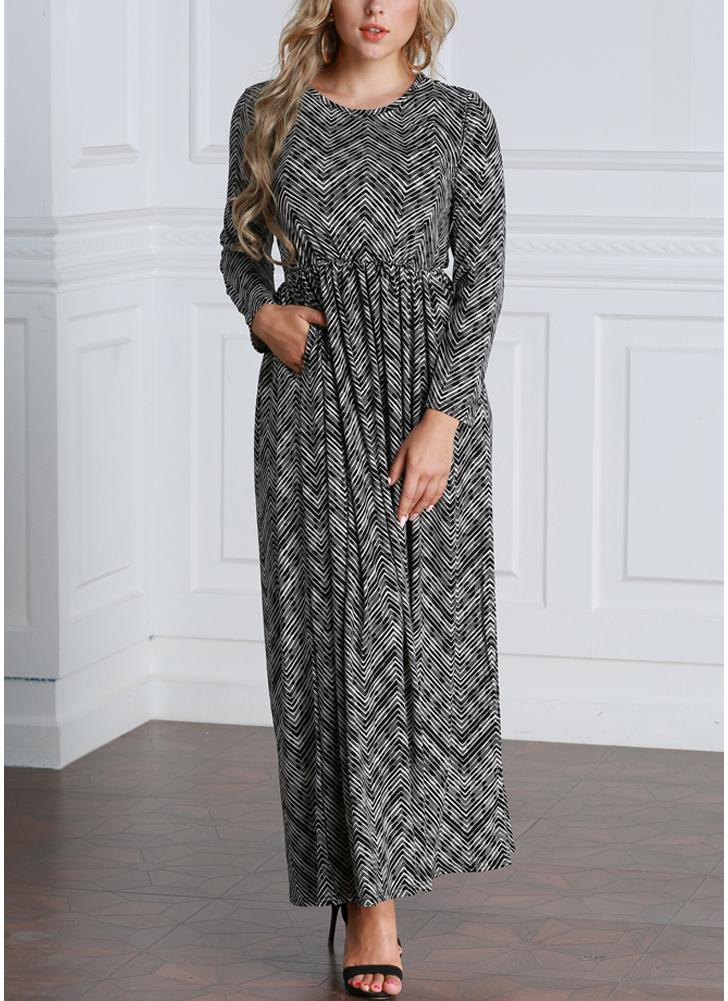 Mulheres Casual Stripe Printed Loose Size Ankle-Length Plus Size Dress