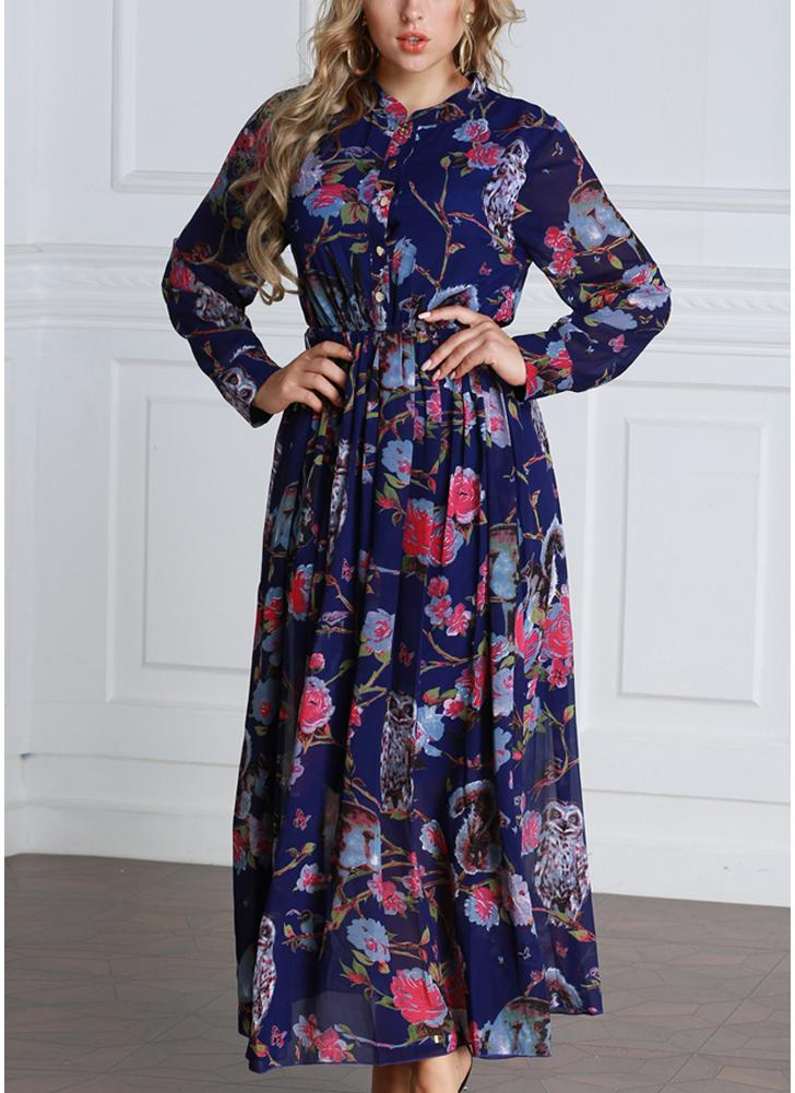Dark Blue 6xl Women Floral Button Front Chiffon Long Sleeves Plus