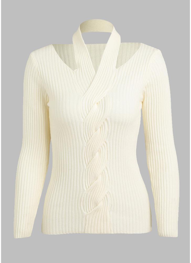 un tamaño blanco Suéter de punto sólido de las mujeres Jersey de la ...