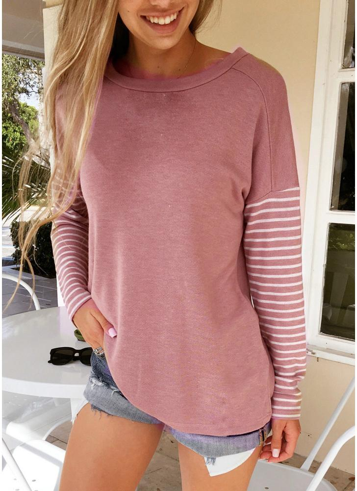 Women Striped Long Sleeve O-Neck Casual Loose Autumn T-Shirt Tops