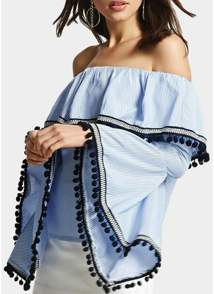 Women Striped Blouse Sexy Off the Shoulder Ruffle Flare Sleeves Casual Elegant Top Shirt
