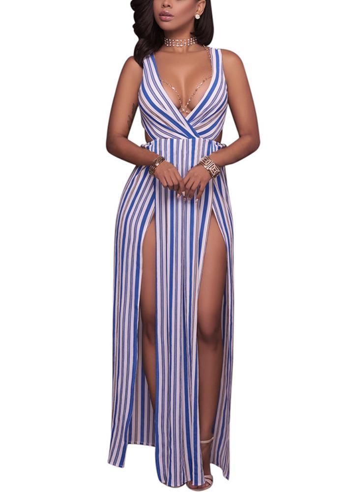 Long Summer Maxi Dress Striped Deep V-Neck High Splits Backless Club Party Dress
