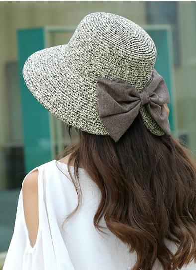 Las nuevas mujeres del sombrero de paja del Bowknot grande laminado casquillo de Sun de la playa del verano de ala plegable dulce de la vendimia