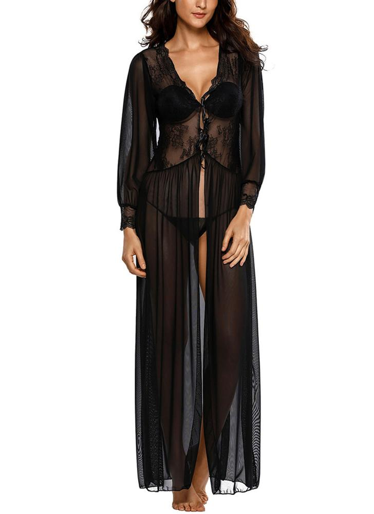 Sexy Women Sheer Lace Floral Scalloped V Neck Mesh Sleepwear