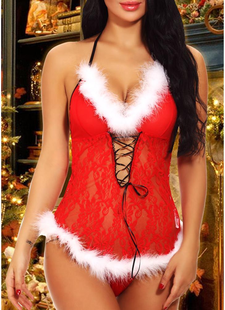 Sexy Femmes De Noël Lingerie Moulante Robe Halter Vêtements de Nuit Sheer  Dentelle Dos Nu Chemise ab305d077b47