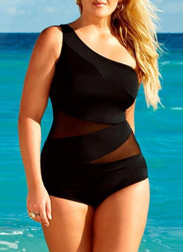Plus Size Solid Color One Shoulder Mesh Splicing One Piece Swimsuit