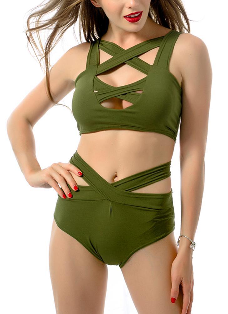 Mujeres sexy Bikini conjunto corte frente profundo escote en v sin mangas cintura abajo traje de baño rojo y verde