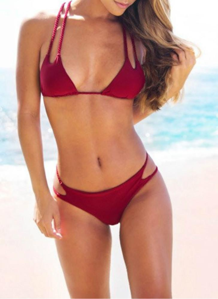 Vintage Bikini Mulheres Set sólido impulso acolchoado Up Braid Cruz Bandag cintura baixa Swimsuit Burgundy Retro