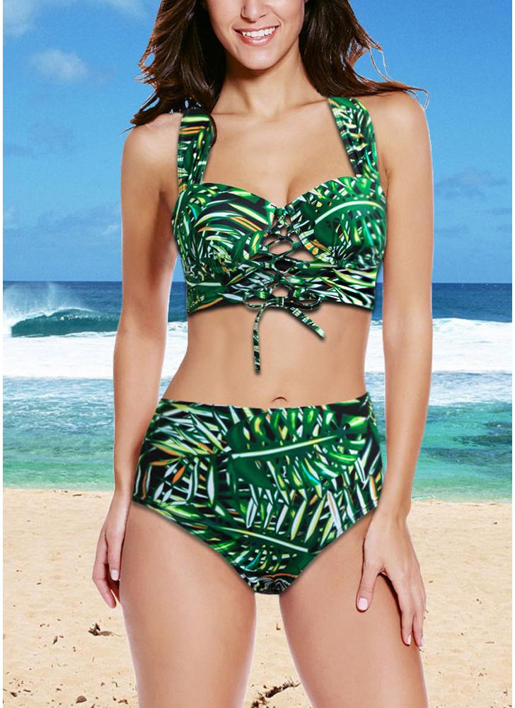senza maniche amp; Pinnacolo bikini in Set floreale Top Bottom Bikini 5qnEE7Y