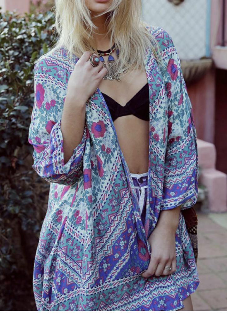 Frauen Kimono Cardigan Sommer-Chiffon- Bluse Boho Blumenmuster lange lose Strand-Vertuschung-Blau