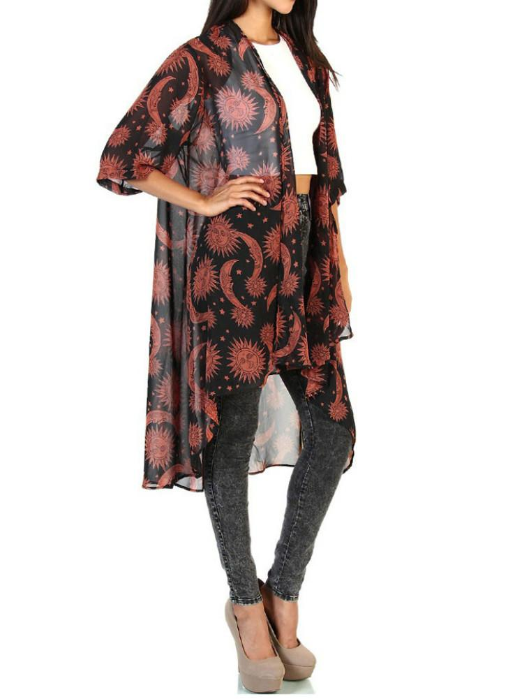 New Mulheres Chiffon Kimono impressão assimétrica Hem solto Cardigan Blusa Casacos Beachwear Bikini Cover Up Vermelho