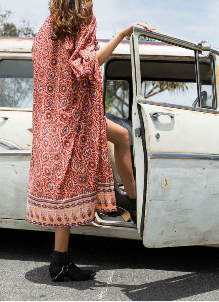 Moda Mulheres Long Beach Cover Up Chiffon Kimono Allover Imprimir Brasão frontal Abra soltas Longo Fino Laranja