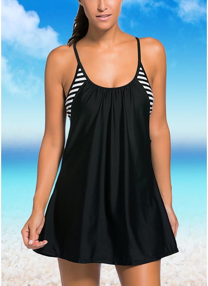 Frauen Badeanzug Fließende Schwimmen-Kleid-Layered Tankinioberteil Plus Size Bademode Bikini-Badeanzug
