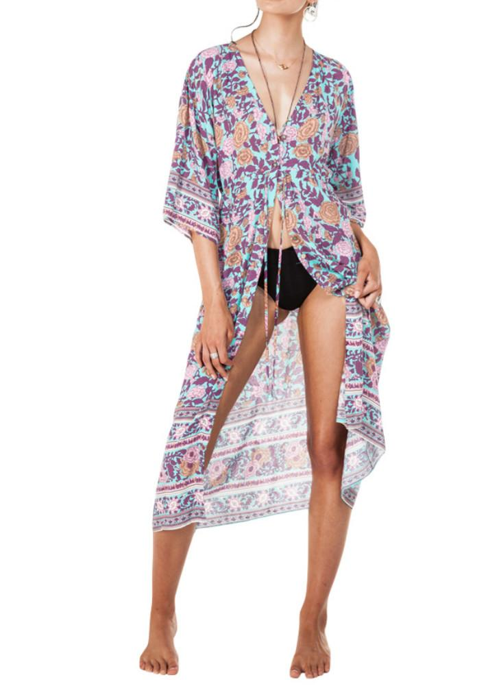 Camicetta da donna Kimono Cardigan Beach Cover Up Top Beachwear