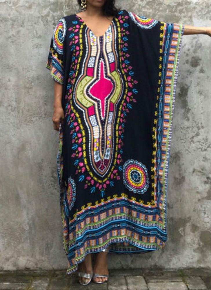 Étnica Mulheres Cover Up Plus Size Impresso V Neck Maxi Boho Hipppie Dashiki Bikini Beach Dress Kaftan