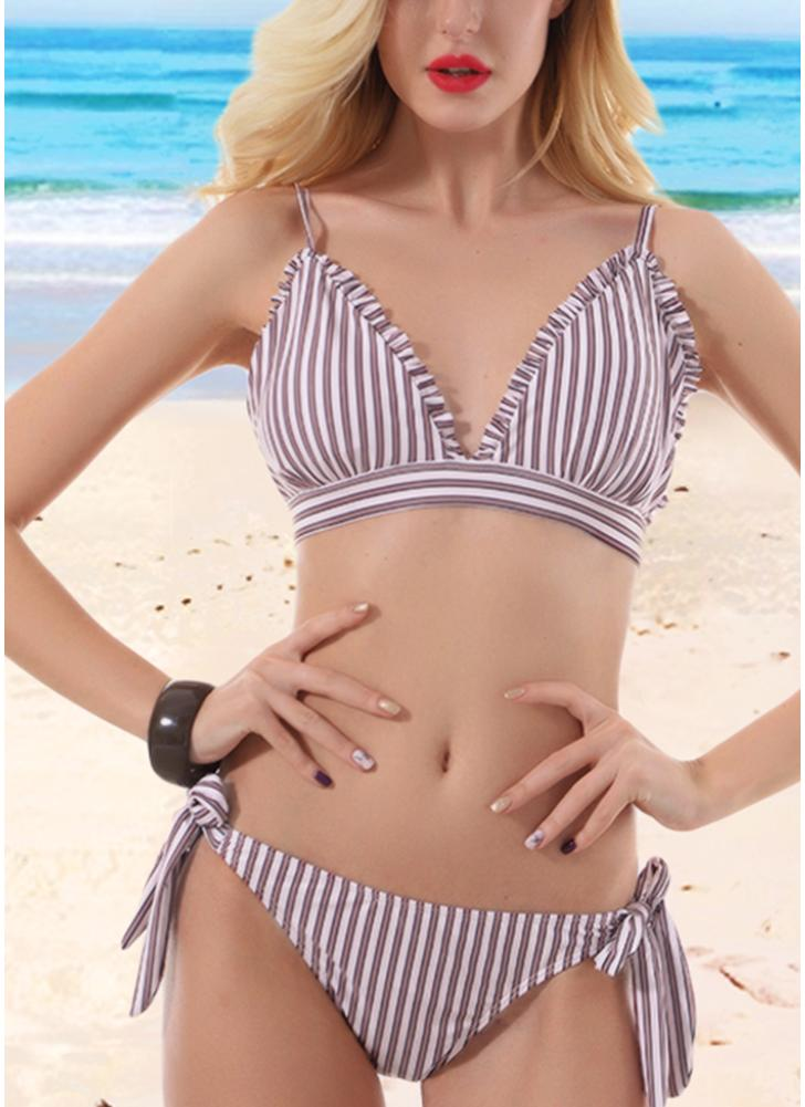 Sexy Women Striped Wire Free Padded Cup Low Tie Waist Thong Biquini Bikini Set