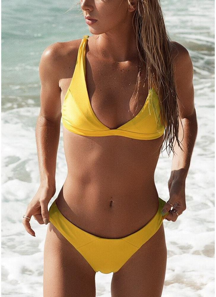 Women Bikini Set Solid Triangle Cups Solid Leopard Padded Push Up Low Waist Sexy Two Piece Swimsuit