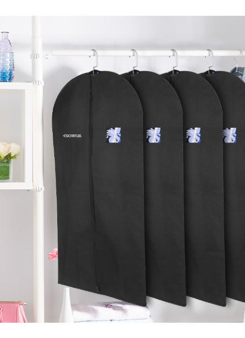 Esonmus Schwarz 100 * 60cm Non-Woven Hanging Garment Kleidung Taschen Staubdicht Moisturproof Dress Suit Covers mit PVC-Fenster für Closet Travel - Pack von 4