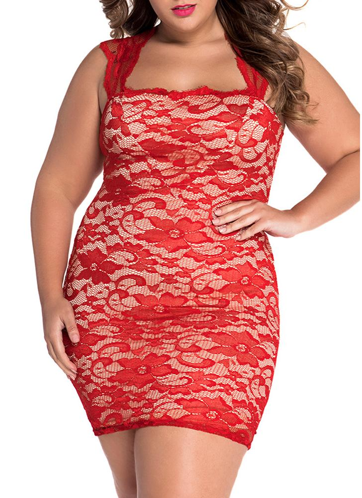 Red Lace Nude Illusion Plus Size Bodycon Dress