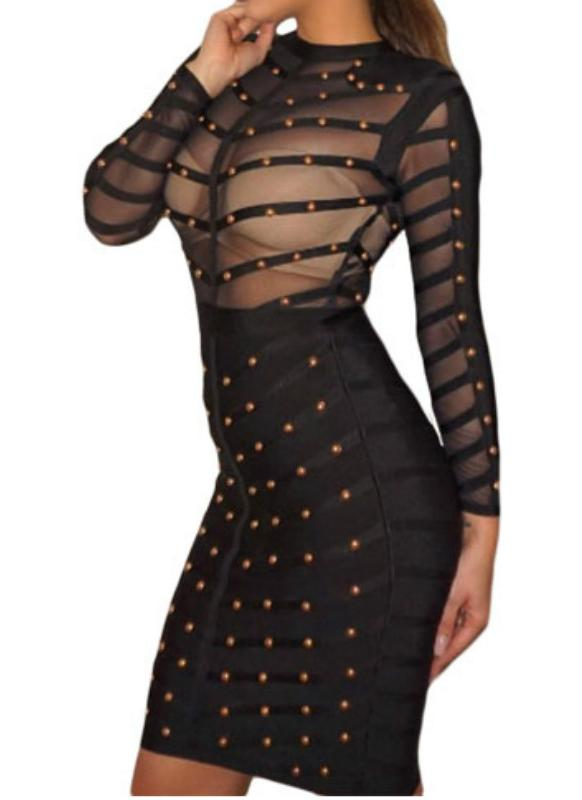Women's Studded Mesh Long Sleeve Bandage Dress